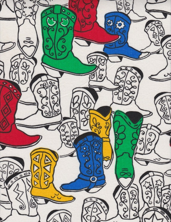 Western Swing Novelty Cowboy Boots Print Shirt Fabric Cotton Quilt Craft  Cloth Retro Fashion Design Reference Material