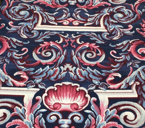 Georgian Scroll Print Upholstery Fabric Cotton Pillow Wall Art Etsy