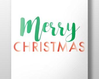 Christmas typography,Merry Christmas print,Merry Christmas printable,Christmas decor,Christmas red and green,Christmas poster,#LL173