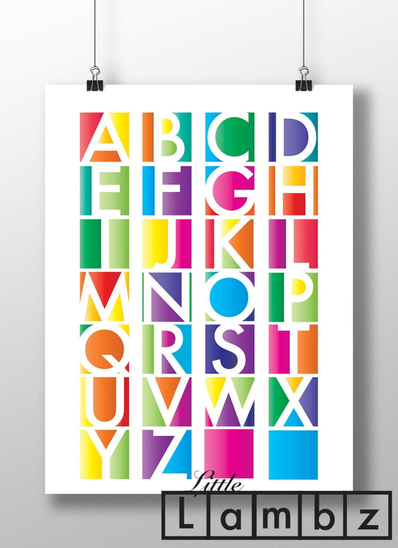 alfabeto de colores para imprimir abecedario imprimir | Etsy