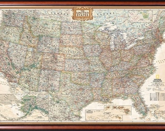 Unframed United States Map by National Geographic Perfect for | Etsy