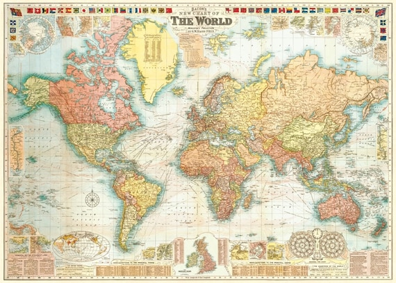 Map Of The World 1920.Vintage Parchment World Map Map Circa 1920 In Premium Hardwood Etsy