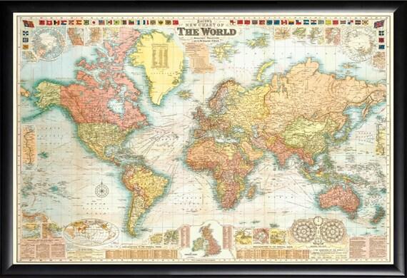Carte Du Monde Parchemin vintage carte carte du monde de parchemin vers 1920 dans le cadre de  finition haut de gamme bois noir utiliser push pins ou profiter comme  décoration