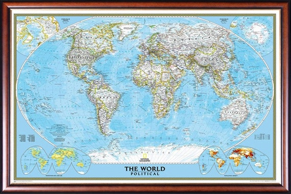 Clic World Map by National Geographic Decorative Walnut Finish with on europe shaded on a world map, national geographic world mural map, national geographic language world map, national geographic world map wallpaper, national geographic framed world map, national geographic large world map,
