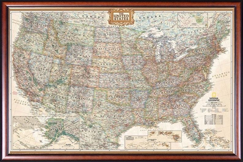 Executive National Geographic United States Map Decorative | Etsy