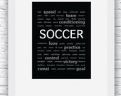 Soccer Words Wall Art Printable, Black and White Art, Sport Decor, Soccer Art, Wall Decor, Modern Wall Art, Words Art, Digital Print