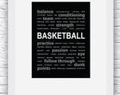 Basketball Print, Basketball Wall Art, Basketball Decor, Basketball Words Art,Basketball Digital Print, Printable Wall Art,Basketball Poster