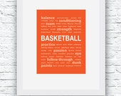 Basketball Decor, Basketball Wall Art, Basketball Print, Orange Basketball Art,Basketball Digital Print,Printable Wall Art,Basketball Poster