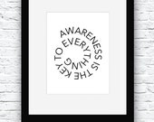 Awareness is the key, Be Aware Poster, Awareness Printable, Awareness Art,Typography Poster,Awareness Decor,Awareness Digital,Self-awareness