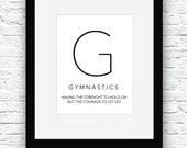 Gymnastics Quotes, Gymnast Gift, Gymnastics Digital Print, Gymnastics Print, Gymnastics Wall Art, Gymnastics Decor,Gymnastics Poster