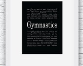 Gymnastics Words Wall Art Printable, Black and White Art, Sport Decor, Gymnastics Art, Wall Decor, Modern Wall Art, Words Art, Digital Print