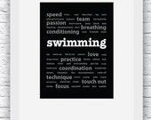 Swimming Words Wall Art Printable, Black and White Art, Sport Decor, Swimming Art, Wall Decor, Modern Wall Art, Words Art, Digital Print