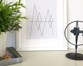 Scandinavian Print, Geometric Wall Art, Black and White, Line Art, Geometric Printable,Nordic Art, Minimalist Print, Minimal Poster,Mountain