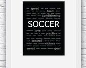 Soccer Words Wall Art Printable, Black and White Art, Sport Decor, Soccer Art, Wall Decor, Modern Wall Art, Words Art, Digital Print