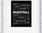 Basketball Print, Basketball Wall Art, Basketball Decor, Basketball Words Art,Basketball Digital Print, Printable Wall Art,Basketball Poster