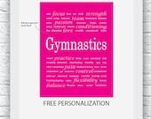 Free Personalization, Gymnastics Art, Gymnastics Wall Art,Gymnastics Print, Pink Gymnastics Art, Gymnastics Decor ,Girl Gymnastics