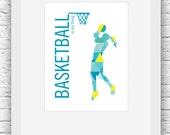 Girls Basketball Print, Basketball Wall Art, Basketball Decor, Basketball Girls, Basketball Gift, Turquoise and Yellow, Printable, Gift