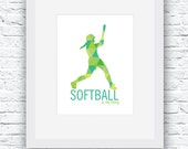 Softball Digital Print, Softball Print, Softball Wall Art, Softball Decor, Printable Softball Art, Softball Poster, Softball Gift