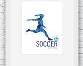 Soccer Wall Art, Girl Soccer Digital Print, Soccer Poster, Girl Soccer Decor, Printable Soccer Wall Art, Girl Poster Soccer,Soccer Gift Blue