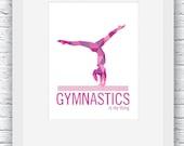 Gymnastics Digital Print, Gymnastics Print, Gymnastics Wall Art, Gymnastics Decor, Printable Pink Wall Art,Gymnastics Poster,Gymnastics Gift