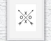 Arrow Art, Black and White Xo Arrow, Printable Wall Art, Love Art, Printable Decor, Geometric Wall Art, Trending Items