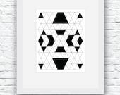 Scandinavian Print, Navajo Art, Minimalist Print, Black and White, Aztec Wall Art, Geometric Print, Geometric Art,Black and White Art,Nordic