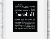 Baseball Words Wall Art Printable, Black and White Art, Sport Decor, Baseball Art, Wall Decor, Modern Wall Art, Words Art