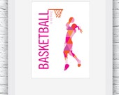 Basketball Gift for Girls, Basketball Print, Basketball Gift Ideas, Basketball Wall Art, Basketball Decor Ideas, Orange and Pink Basketball