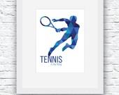Tennis Digital Print, Tennis Print, Tennis Wall Art, Tennis Decor, Printable Tennis Wall Art, Blue Art, Tennis Poster, Tennis Gift