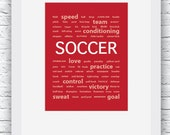 Soccer Posters, Soccer Words Wall Art Printable, Red Soccer Art, Sport Decor, Soccer Art, Soccer Prints, Words Art, Digital Print,Soccer Red