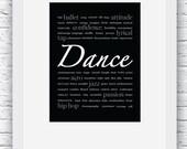 Dance Gift Ideas, Dance Decoration, Dance Print, Dance Wall Art, Gift for Dance, Dance Digital Print, Dance Poster,Dance Art,Black and White