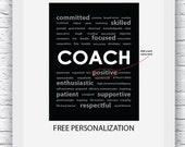 Coach Gift Ideas, Sports Coach Gift, Free Personalization, Coach Print, Coach Wall Art, Gift for Coach, Coach Digital Print, Coach Poster