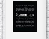 Gymnastics Words Wall Art Printable, Black and White Art, Sport Decor, Gymnastics Art, Wall Decor, Modern Wall Art, Words Art, Digital Print