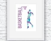 Girls Basketball Printable, Basketball Print, Basketball Wall Art, Basketball Decor, Printable Wall Art, Basketball Girls, Basketball Gift
