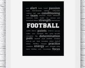 Football Words Wall Art Printable, Black and White Art, Sport Decor, Football Art, Wall Decor, Modern Wall Art, Words Art, Digital Print
