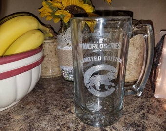 Chicago cubs beer mug 2016 world series winner cubbies custom laser etched unique gifts