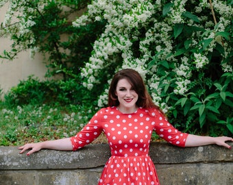 Polka dot dress, red polka dot dress, midi dress, cotton dress, spring summer, white polka dot, spotted large spots dress, bridesmaid dress