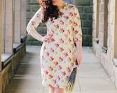 Floral pencil dress, flower dress, vintage style dress, midi-length dress, cotton dress, wiggle dress, occasion wear, autumn winter dress