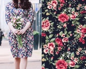 Navy floral dress, navy bodycon dress, autumn winter dress, bridesmaids dress, vintage style dress, cotton dress, wiggle dress, pencil dress