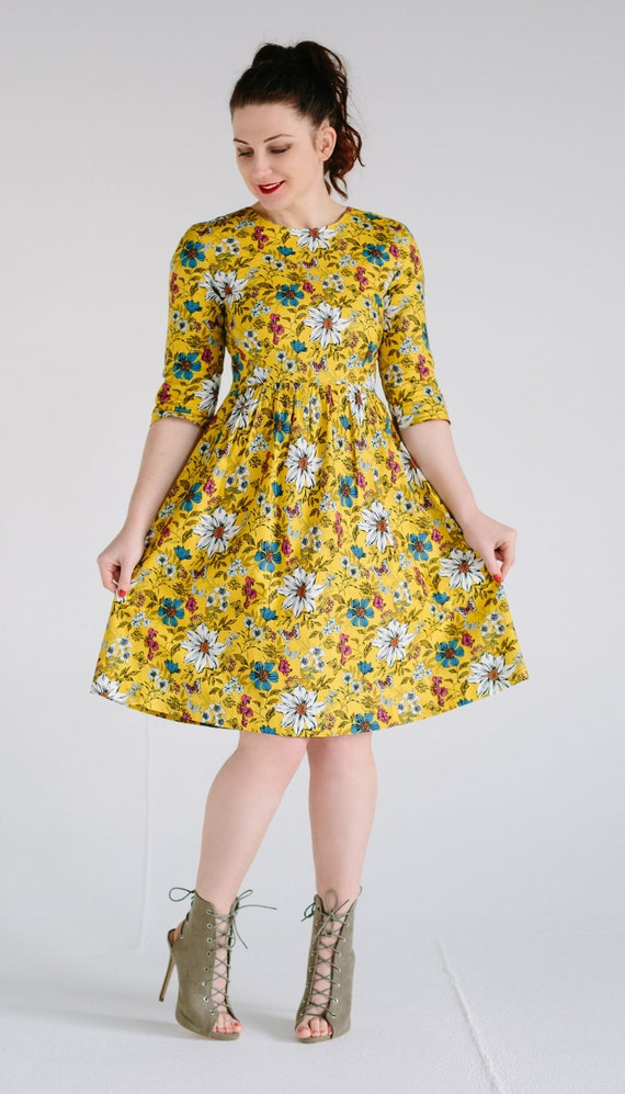 691acdab227 Floral dress flower print dress vintage style dress tea