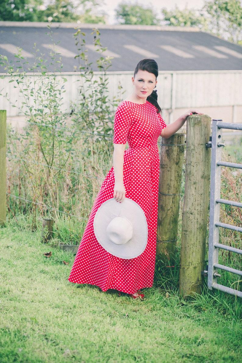 0a80344ba380 Polka dot maxi dress red polka dot dress open back dress