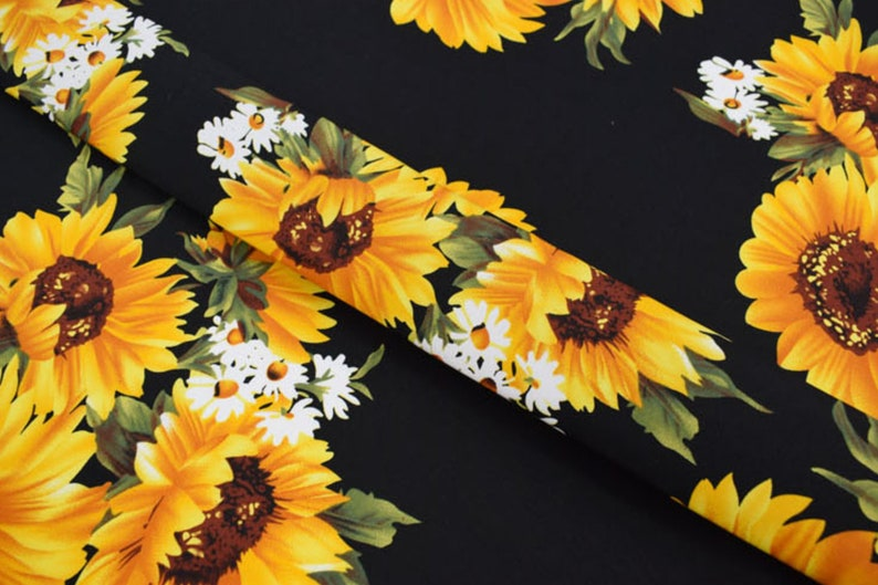 craft dressmaking fabric sold by metre vintage style black yellow flower cotton fabric Floral sunflower print sateen stretch cotton fabric