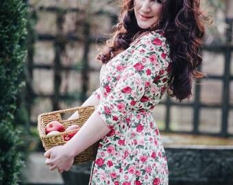 Floral dress, summer dress, flower dress, vintage style dress, midi dress, cotton dress, garden party dress, occasion wear, SS17, wedding
