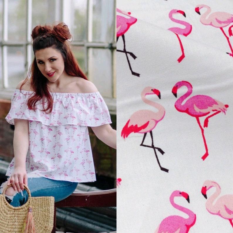 544e681339b3e Flamingo top open shoulder top tropical print top white