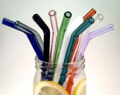 Glass Drinking Straws - Free Shipping - Reusable - Bent or Straight - Choose Length and Color Borosilicate (Pyrex) - Made in Eugene Oregon