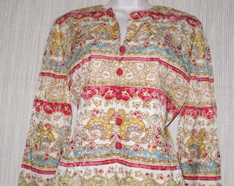ADRIANNA PAPELL Silk Red Gold Multi Color Floral Jacket Size:8