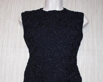 79b4bf2e873 Vintage 50 s B.ALTMAN   Co FIFTH AVENUE New York Black Sleeveless Evening  Womens Knitted Top Size S