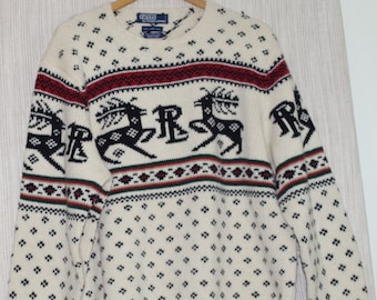 a31a61b9e POLO by Ralph Lauren Lambswool Hand Knit Men White Nordic Deer Moose  Holiday Sweater Sz. L