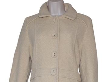 PETIT FRANCE Beige Cream Wool Blend Snaps Women Coat size:8