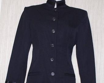 NORMA Kamali Black Wool Women Jacket Padded Shoulder Women Size:6